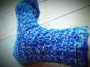 One Finished Rose Rib Sock